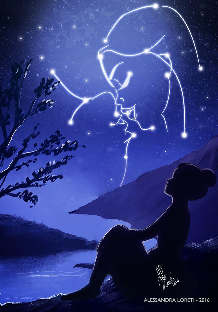 Kiss in the night sky #love #kiss #night #sky #art #alessandra #loreti #alessandraloreti #2016 #digital #drawing #illustration #universe #sea