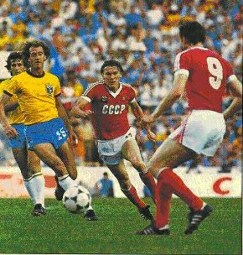 Brazil 2 USSR 1 in 1982 in Seville. Oleg Blochin runs through the midfield in Group 6 at the WorldCupFinals.