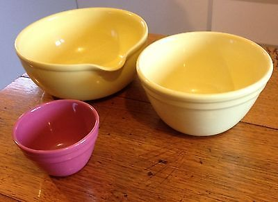 ★ 3 x Vintage FOWLER WARE Australian Pottery KITCHEN BOWLS Mixing pudding RETRO