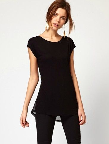 Black Short Sleeve Asymmetrical Ruffles Blouse - Sheinside.com