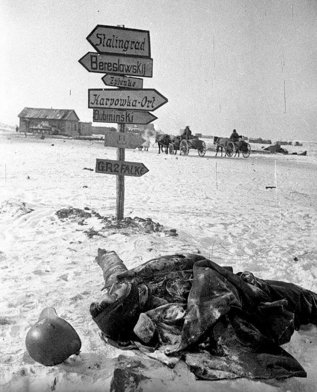 The Battle of Stalingrad has ended and this lone German KIA lies by the signpost pointing to the necropolis bearing Stalin's name. Thousands like him remained unburied and were eventually claimed by Nature.