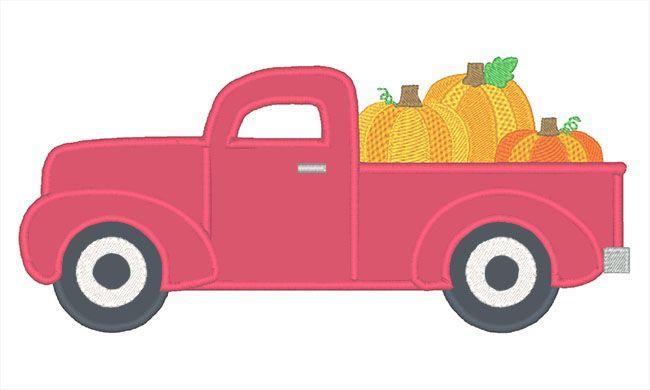 Designs :: Occasions :: Fall :: Applique Truck Pumpkins