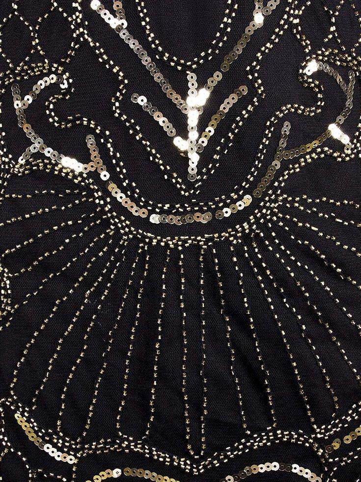 1920s Flapper Dress Art Nouveau Great Gatsby Fringe Cocktail Dress – X-Large Silver Beige