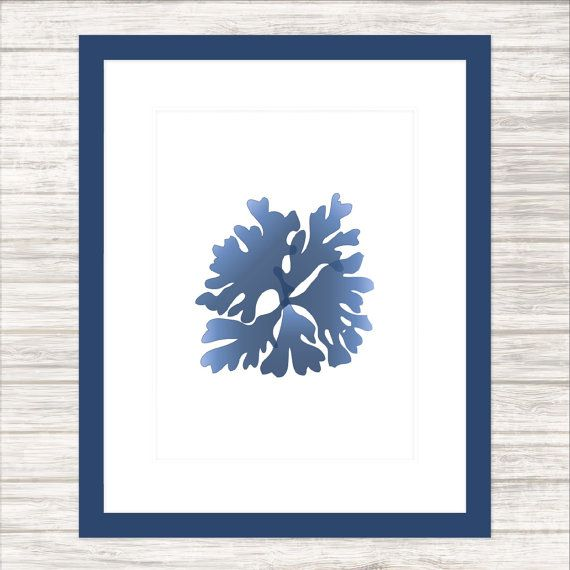 Seaweed 1 in Indigo  Wall Art Poster by paper4download on Etsy