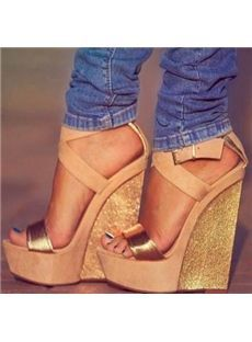 Open Toe Rubber Glueing Ultra-High Heel Strappy Line-Style Buckle Low-Cut Upper Wedge Heel Sandals
