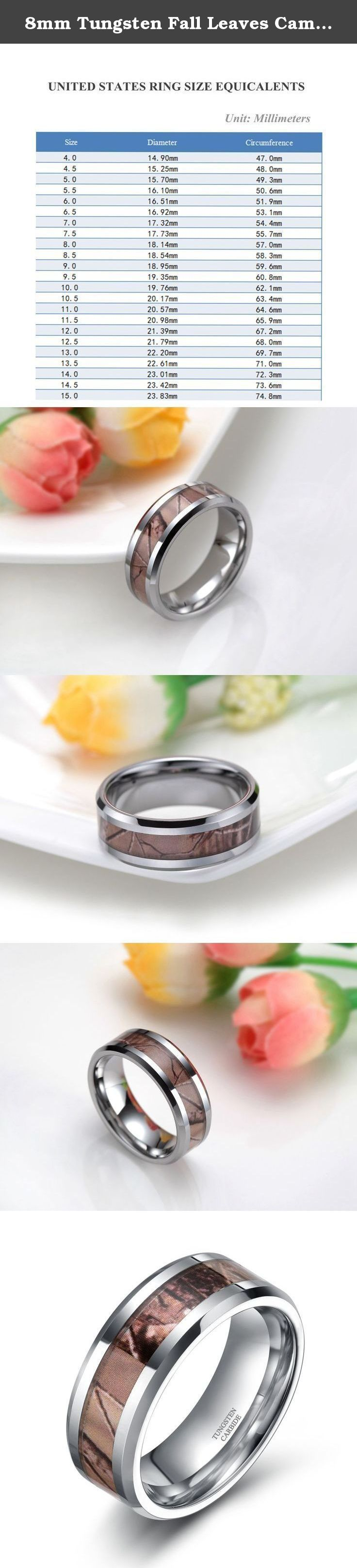 8mm Tungsten Fall Leaves Camouflage Inlay Hunting Ring Wedding Engagement Band Comfort Fit Size 5-10(10). Why choose Frank S. Burton store to purchase? Reason.1: Amazon Authentication Brand;(Guaranteed Quality ) Reason.2: True & Pure Tungsten Material;(Scratch Proof & Hypoallergenic & Never Fade) Reason.3: Comfortable & Exquisite & Amazon Unique Design;(High Polish & Comfort Fit) Reason.4: Amazon Excellent and Fast Delivery;(Next,Second Day Delivery Option) Reason.5: Timely and 100%...