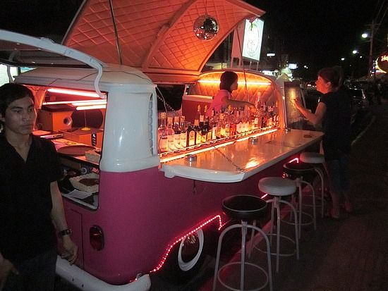 Not really a place but yet worth mentioning. It's a VW camper converted into a mobile bar. Travels around Phuket, Thailand.