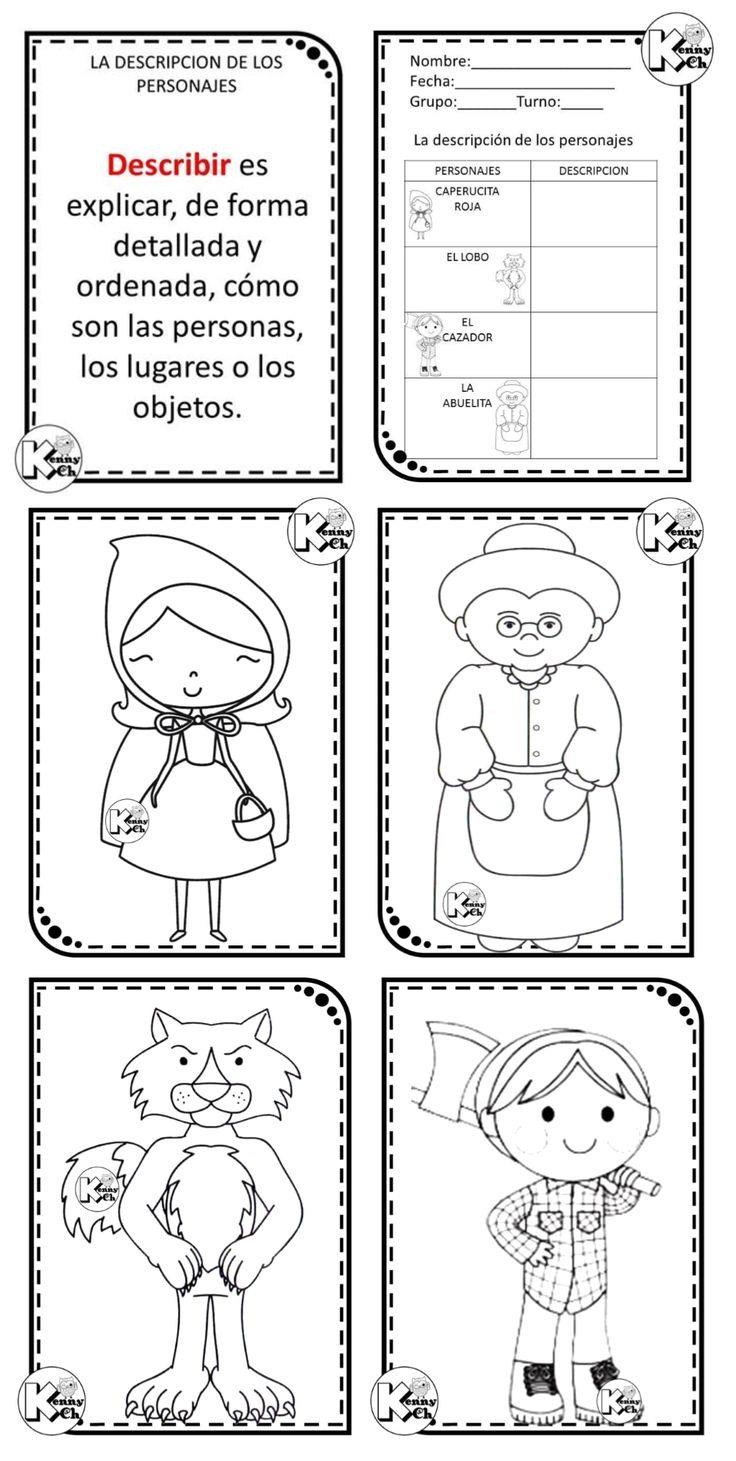 Descripción de personajes para primer y segundo grado de primaria