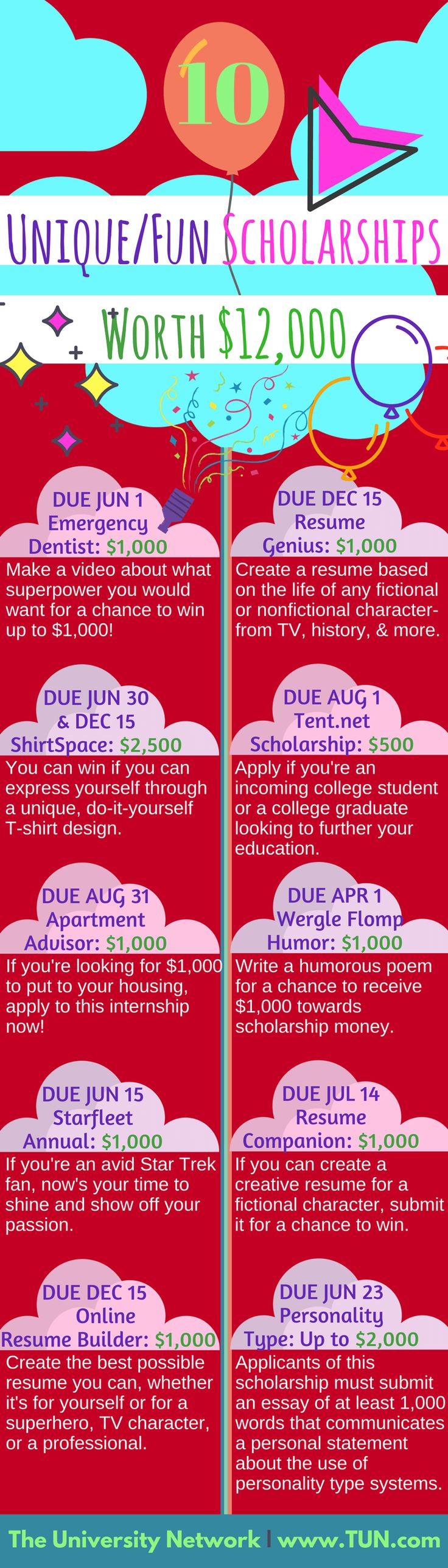 If you're looking for fun scholarships, here they are! #unique #scholarships worth $12,000+