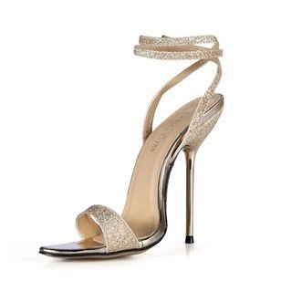 Vrouwen Sandalen Peep Toe Hakken Stiletto Heel Sprankelende Glitter Schoenen