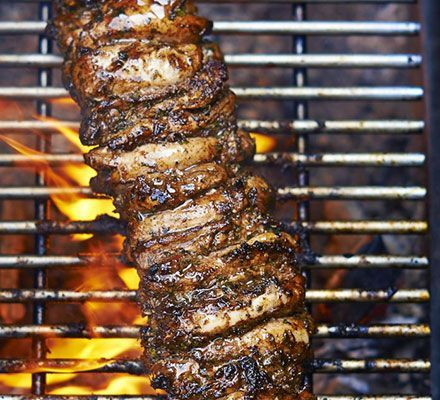 Greek chicken kebab. This version of Greek gyro chicken kebabs uses thigh instead of breast to keep the meat really succulent
