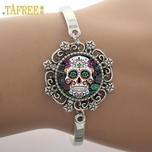 Silver Gothic Flower Sugar Skull Glass Beauty Cuff Bangle Bracelet Wristbands