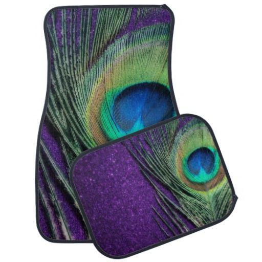 Stunning Purple Peacock Feather Car Mat.  Enjoy these gorgeous purple peacock bird feather mats for your car.