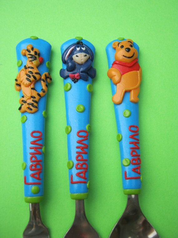 Handmade Personalized Cutlery for Children and Adults. Perfect Gift for Birthdays.Teddy Bear.Utensils. Flatware Sets.