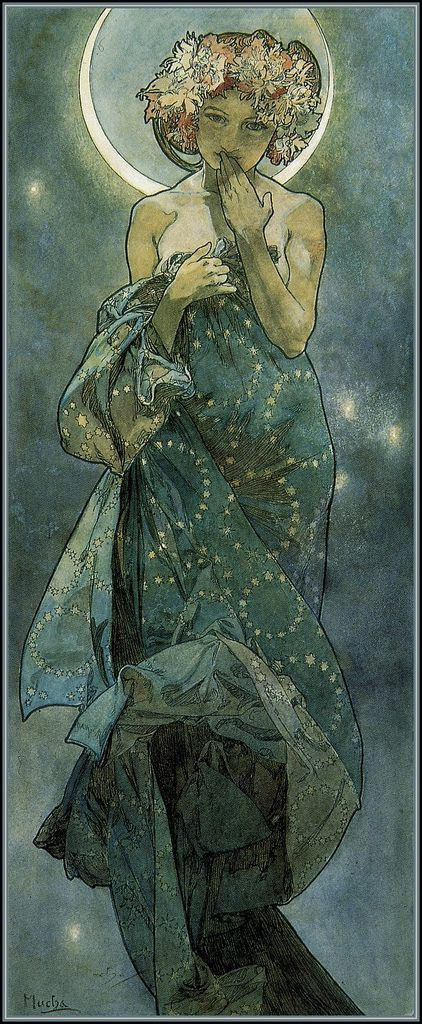 I have a print of this in my bedroom. It's so calming a beautiful. Moonlight by Mucha