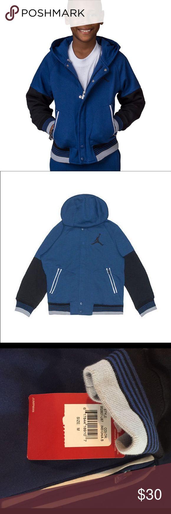Nike Boys jumpman23 varsity Jacket Insignia blue with black and grey Nike Jackets & Coats