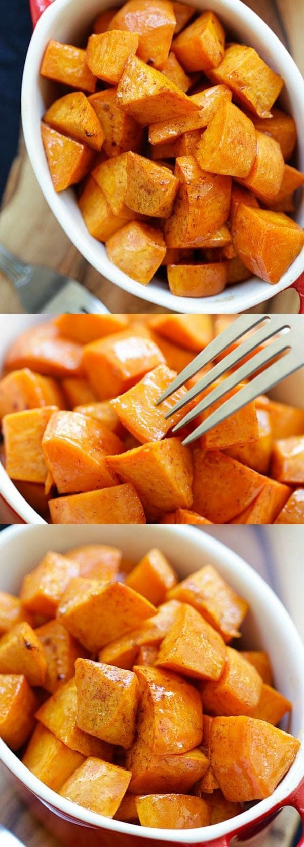 Honey Cinnamon Roasted Sweet Potatoes – the best fall and Thanksgiving side dish that everyone can't stop eating. Easy peasy and fool-proof | rasamalaysia.com