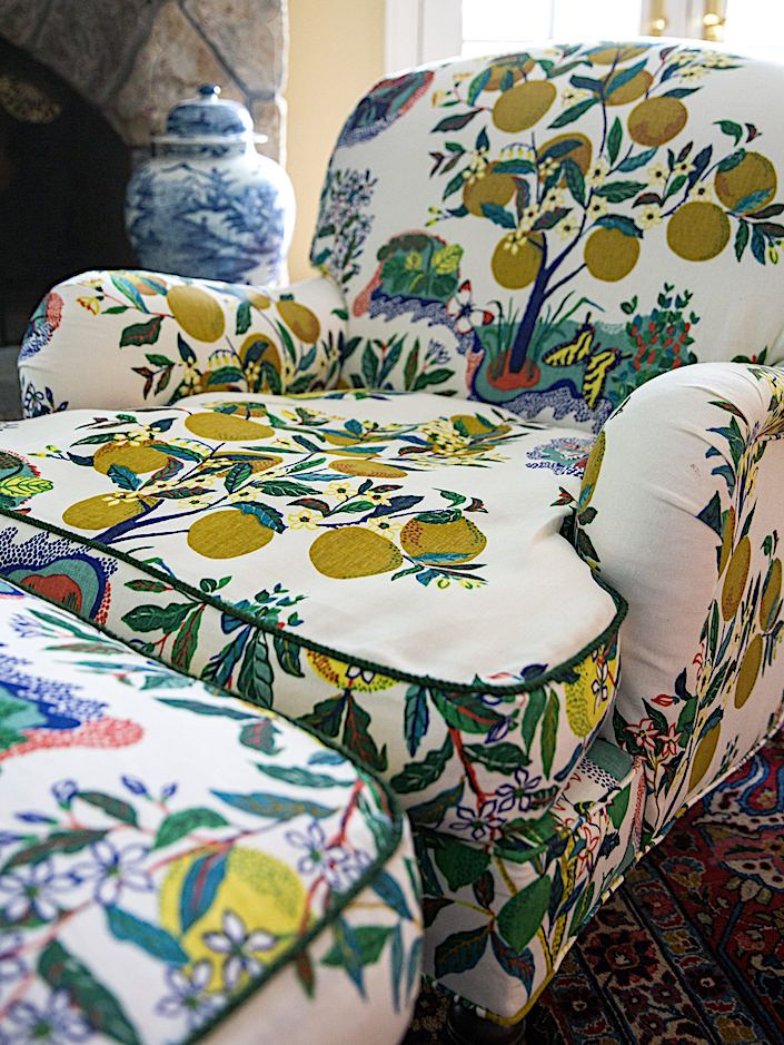 The Power Of Pattern Quintessence Ornate Chairs Floral Chair Tropical Fabric
