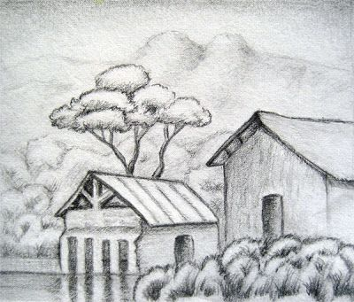 Rural house landscape drawing simple pencil
