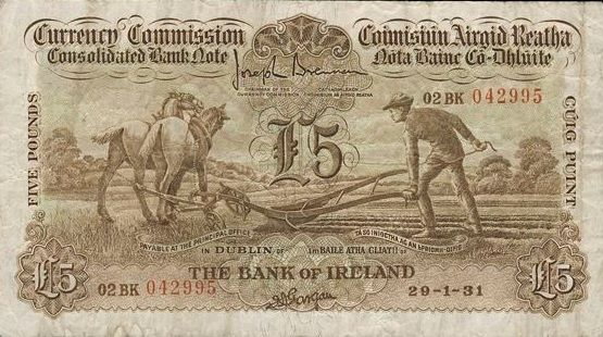 Bank of Ireland, Five Pounds, 29 January 1931, 02BK 042995, Brennan-Gargan signatures