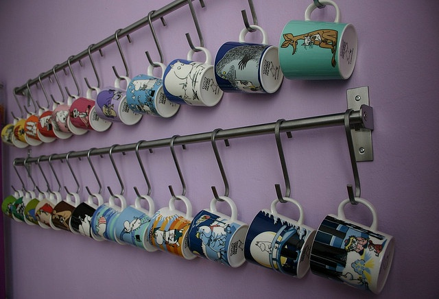 Moomin mugs, via Flickr.great way to store mugs. Plus fantastic Moomin mugs!