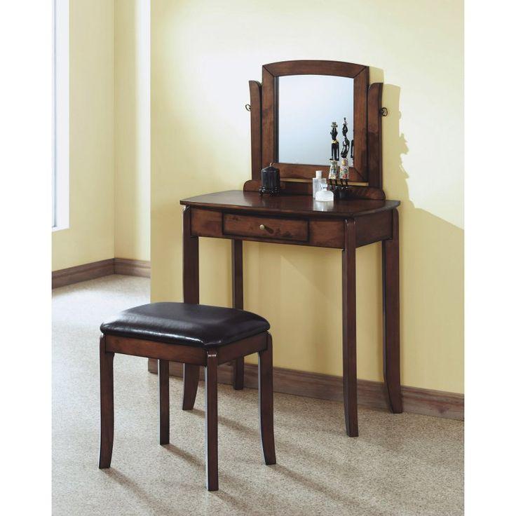 Monarch Specialties Walnut Bedroom Vanity Set I 1582