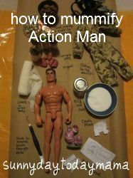 Ancient Egypt project: how to mummify Action Man http://sunnydaytodaymama.blogspot.co.uk/2013/02/ancient-egypt-project-how-to-mummify.html