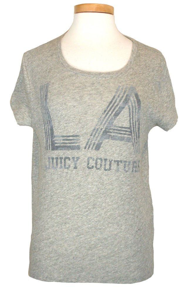 NEW Juicy Couture Womens Shirt LA Los Angeles Top Grey Area Melange Sz L NWT $58 #JuicyCouture #GraphicTee