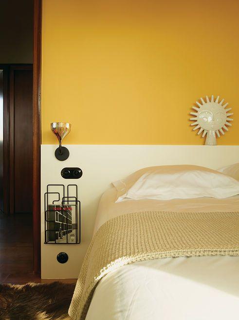 Farrow & Ball's Babouche yellow is the perfect backdrop for JA's Utopia Sun.