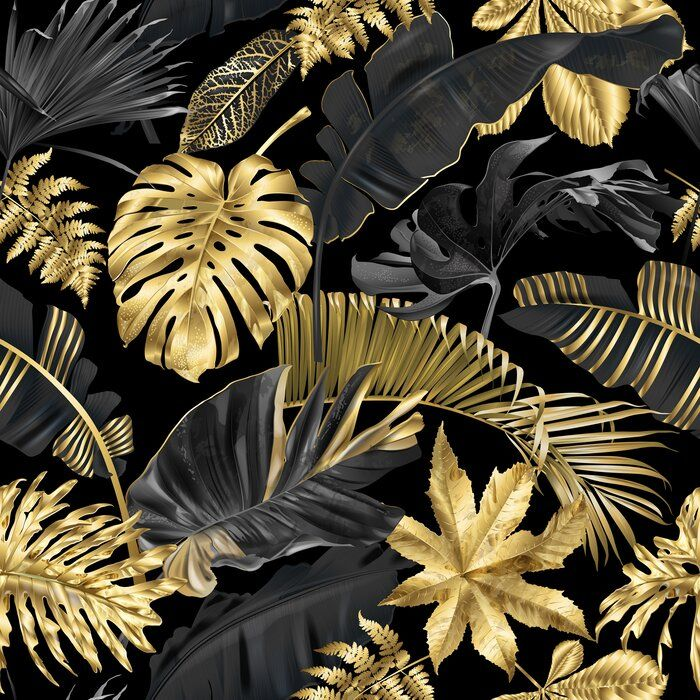 Jacky And Tropical Leaves 10 L X 24 W Peel And Stick Wallpaper Roll Tropical Leaves Black And Gold Aesthetic Wallpaper Roll