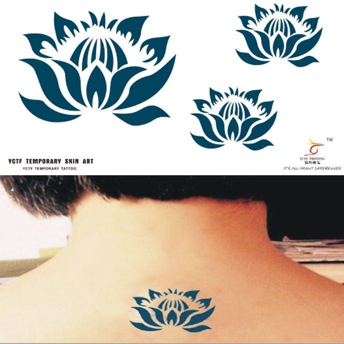 Временные татуировки голубой лотос шею назад искусство тела макияж мужчины женщины поддельные передачи спрей сексуальные татуировки наклейки водонепроницаемый мужской