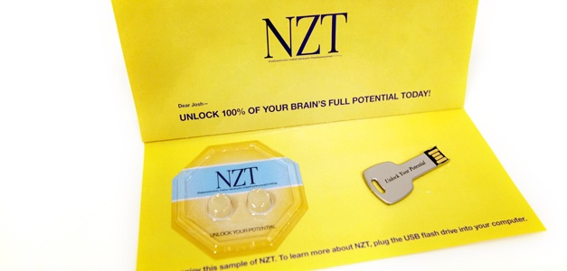 """NZT pills"" and a key-shaped flash drive marked ""unlock your potential""  In the film, slacker incompetent Bradley Cooper is handed a sample of a pill that gives him extraordinary mental clarity and focus, enabling him to put his life in order, write a terrific novel, impress everyone who meets him, and kick off a thriller plot that has him being hunted by known and unknown murderous forces. This package purports to be another sample of the same drug.   This package is mostly impressive for…"