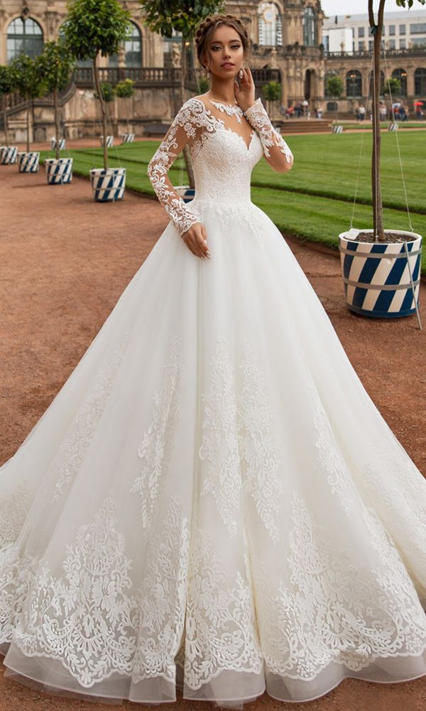 Modest Tulle Jewel Neckline A-line Wedding ceremony Gown With Lace Appliques & Beadings