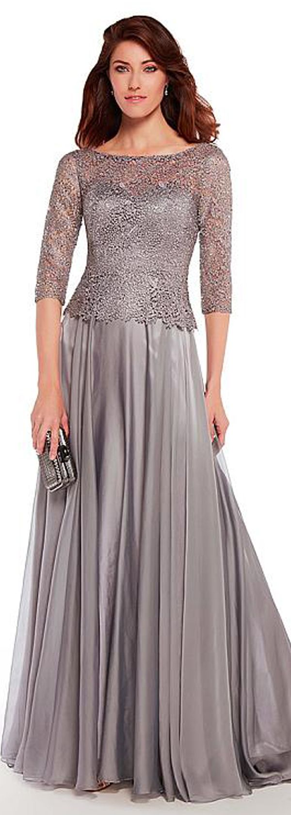 Fabulous Lace & Silk Like Chiffon Bateau Neckline 3/4 Length Sleeves A-line Mother Of The Bride Dresses With Hot Fix Rhinestones