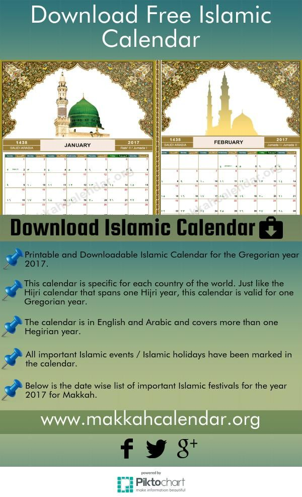Calendar With N Holidays Pdf Free Download : Printable downloadable islamiccalendar for the gregorian