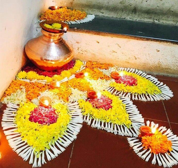 Diwali rangoli in 2020 Flower decorations, Rangoli
