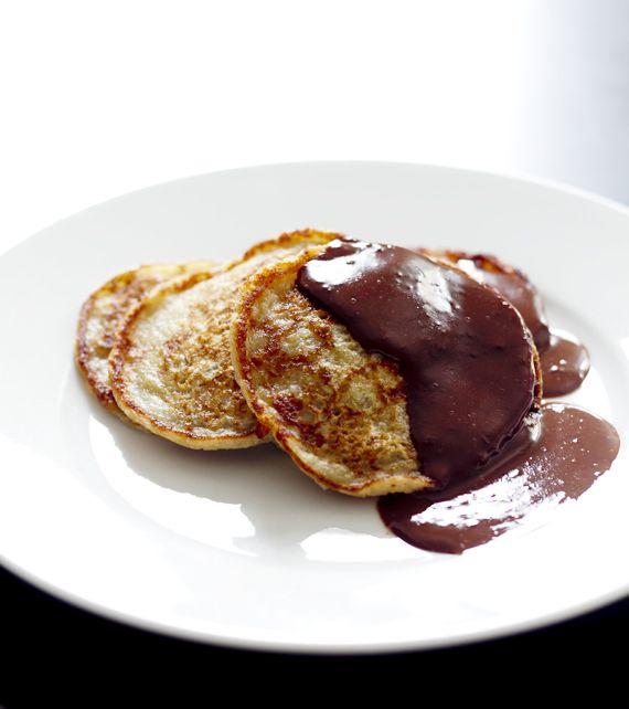 Banana pancakes with chocolate sauce