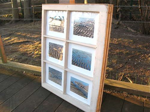 make a picture frame out of old window frames.