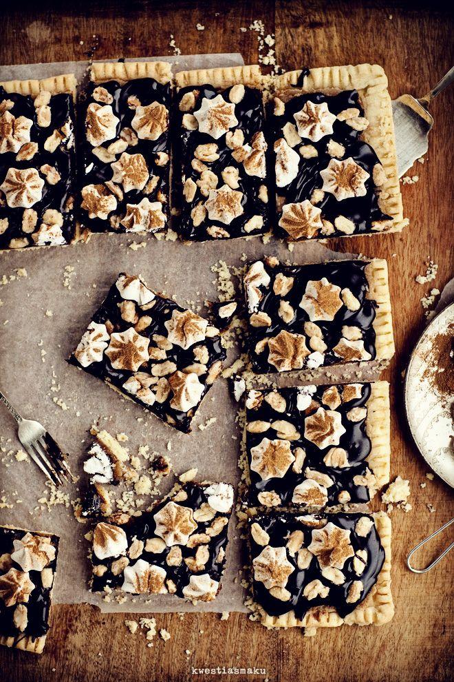 Mazurek z masłem orzechowym i czekoladą