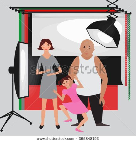 Set of photo studio equipment, paper photo background, light soft flat icons,  flash, reflector, softbox, professional photographic technology. Family pregnant photo shoot with kid vector - stock vector