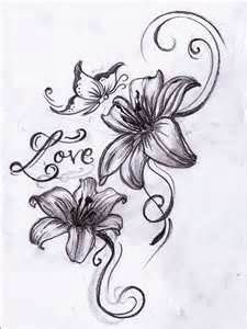 Lily Tattoos Flower And Butterfly Lilies Butterflies Blink Color- OMG I freaking love this. My two favorite things- butterflies an lilies :)