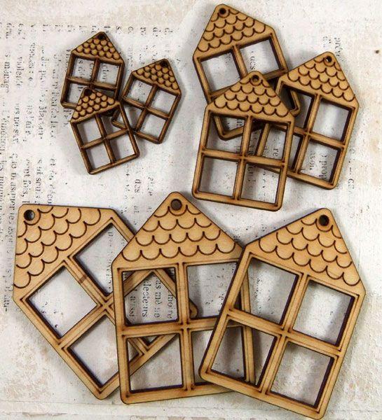Natural Wood House Pendants