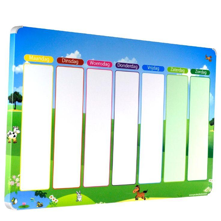 Planbord Weide is een vrolijke magnetische weekplanner voor kinderen. Het bord werkt met magnetische pictogrammen maar ook met speciale stiften.