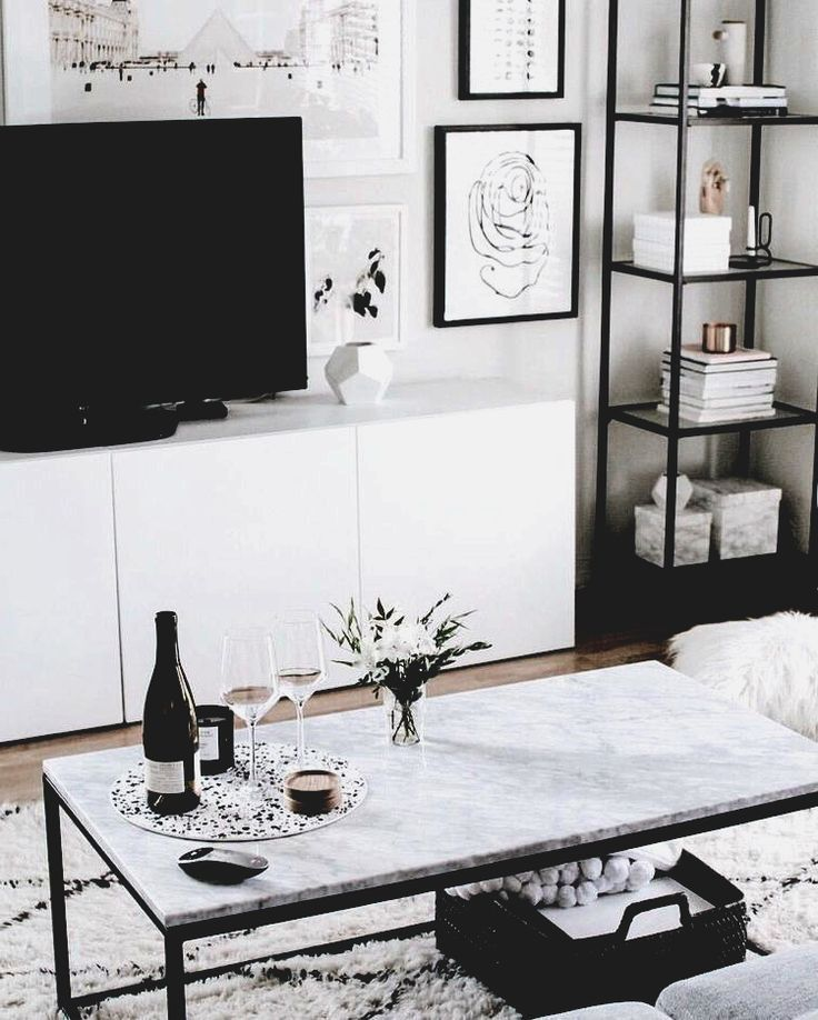 living room inspo  Marble coffee table set up, entertainment set