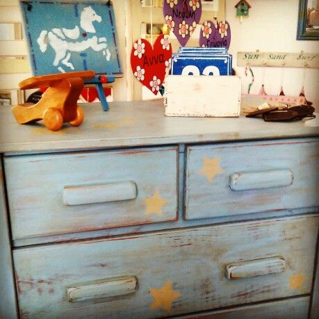 Handpainted wooden dresser, unique handmade wooden objects at Polina's Studio. One-of-a-kind items.