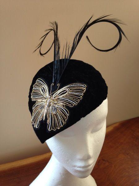 092 Black silk velvet butterfly  BY MERRYL SHAND#millinery #hats #HatAcademy