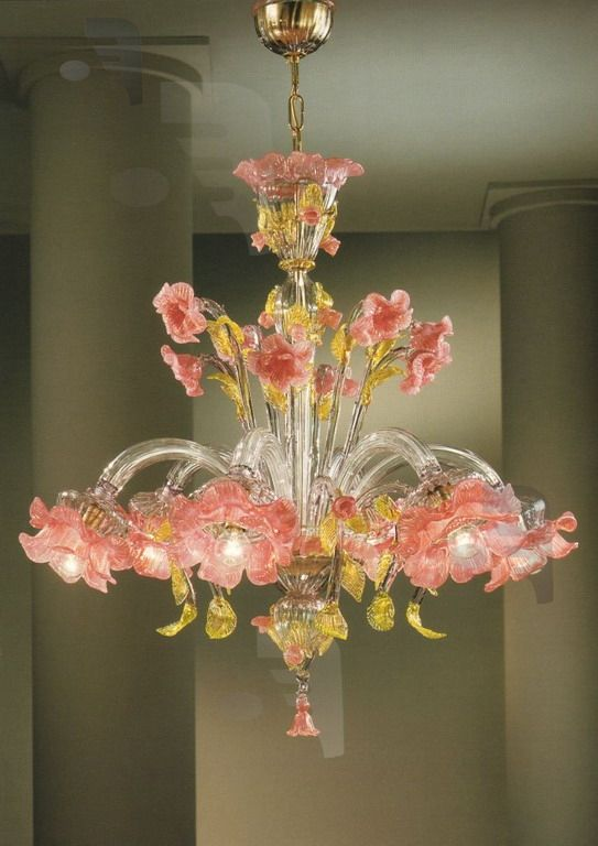 Murano Glass Elisiamare 6 light Pink Gold Venetian Chandelier