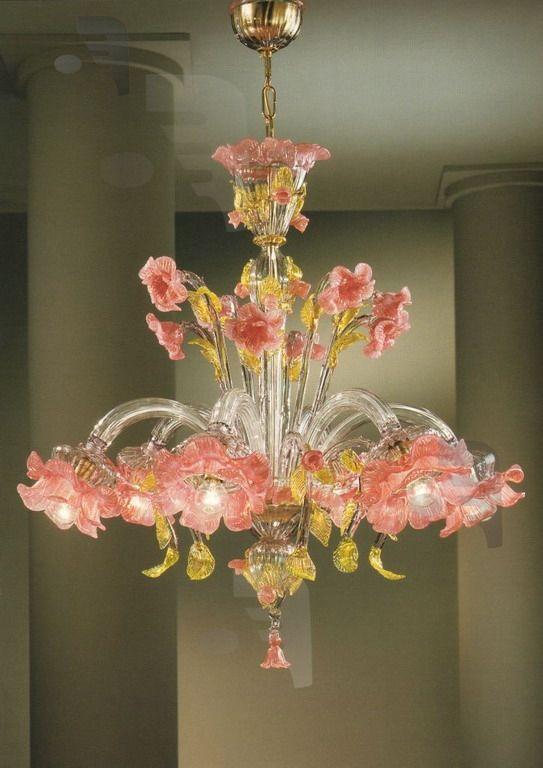 Murano Glass Elisiamare 6 light Pink Gold Venetian Chandelier