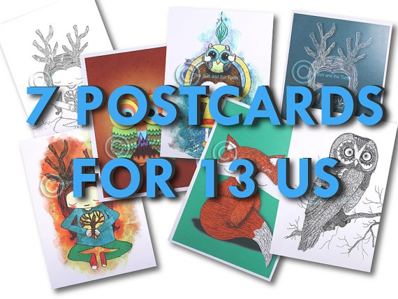 postcard promo buy 7 printed postcards for by thesunandtheturtle, $13.00