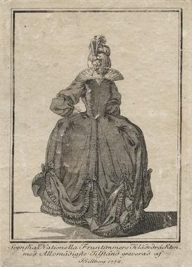 """Digitalt Museum - Gustaf III:s nationella dräkt. """"Svenska Nationella Fruntimmers Klädedräckten"""". Ryggvy. Gravyr från 1778 av Jacob Gillberg (1724-1793)"""